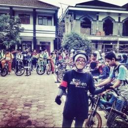 Moment ketika membantu kampanye Bike to School. Foto : dokumentasi pribadi