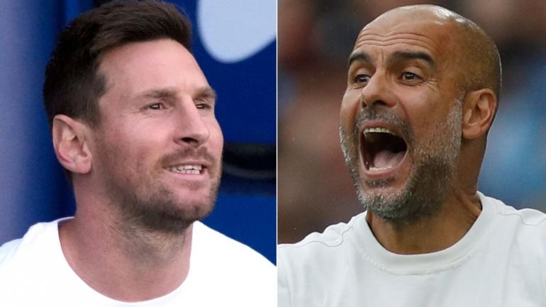 Messi berhadapan lawan mantan mentornya di Barcelona, Pep Guardiola dalam fase grup Liga Champions (Foto Skysports)