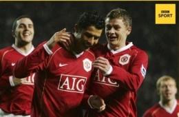 Saat Ronaldo dan Solkjaer selebrasi goal bersama di MU (gambar : BBC Sport)