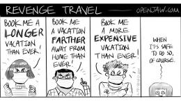Kartun Revenge Travel. Masyarakat kian antusias berwisata lebih dari sebelumnya. Sumber: www.openjaw.com