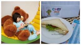Staycation keluarga. Kiri : Liburan santai sambil membaca buku di Kids Room. Kanan : Sandwich hasil cooking acara chef cilik. (Foto : dokpri MomAbel)