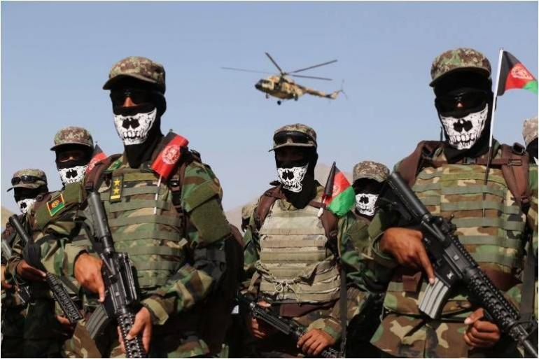 Sumber foto: aljazeera.net, bagian dari pasukan khusus ANDSF (Afghanistan National Defense and Security Forces)