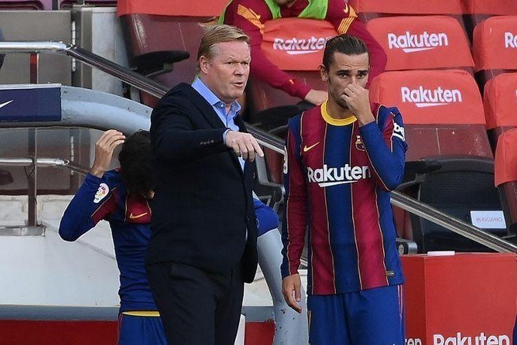 Ronald Koeman, pelatih Barcelona dan Griezmann. Foto: AFP/Lluis Gene via Kompas.com
