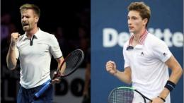Peter Gojowczyk(Jerman)(kiri) dan Ugo Humbert(Perancis). (firstsportz.com)