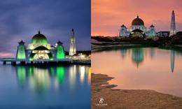 Dua foto Masjid Selat Melaka yang difoto dari sudut berbeda. Sumber: dokumentasi pribadi