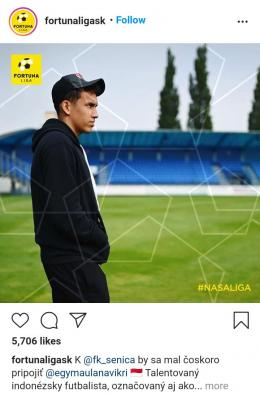 Penyelenggara liga Slovakia pada Senin (30/08/21) mengumumkan bergabungnya Egy ke FK Senica. Gambar: tangkapan layar instagram @fortunaligask