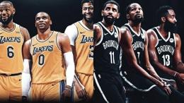 Tiga Besar Brooklyn Nets dan Tiga Besar yang baru dibentuk di Los Angeles Lakers.(Sumber: Marca.com).