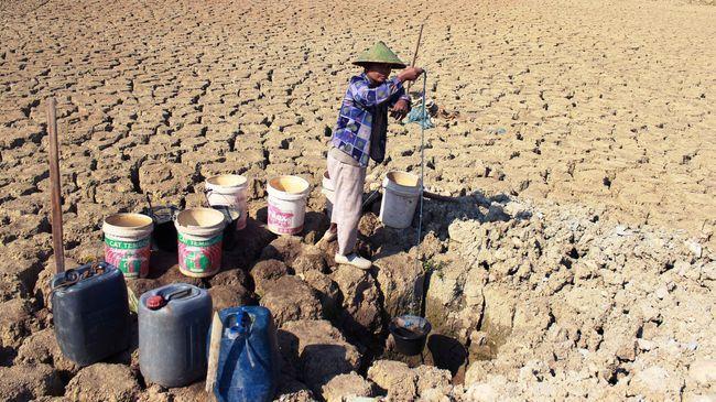 Masyarakat kesulitan mencari air bersih saat musim kemarau (Gambar : CNN Indonesia)