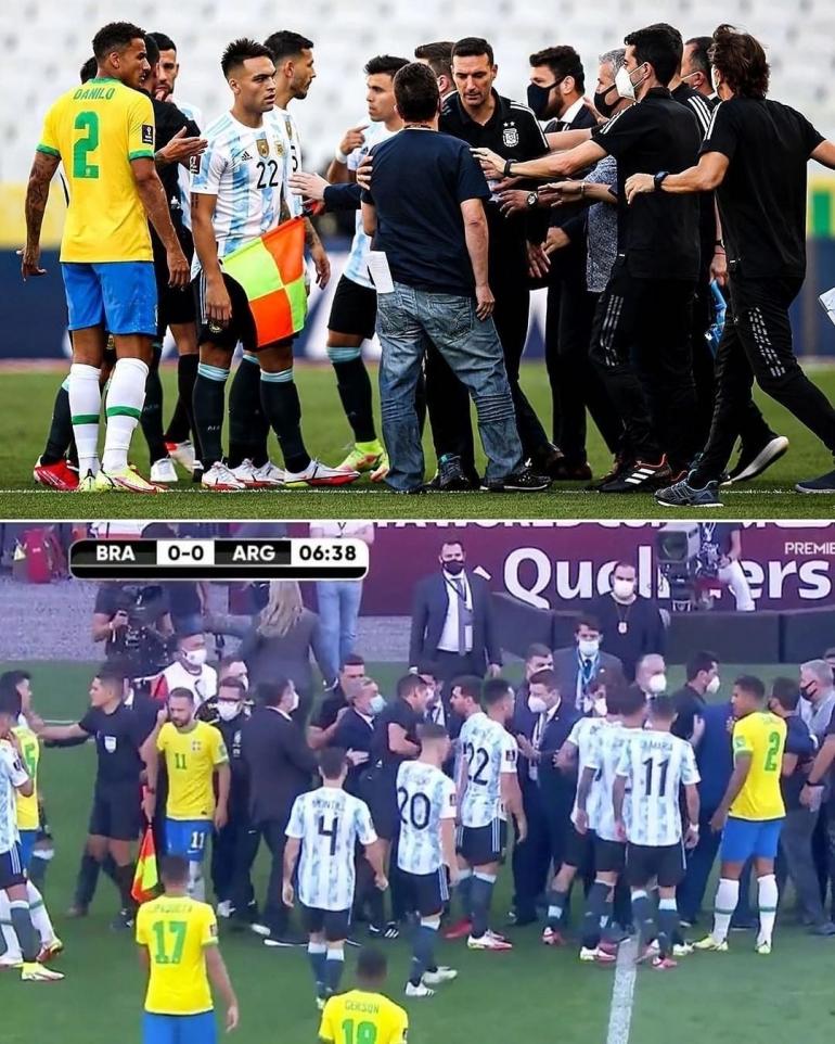 Pemain Argentina melakukan protes terkait dihentikan pertandingan oleh pihak otoritas kesehatan Brasil. Kolase Foto via instagram vahid_leo
