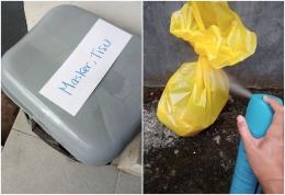 Memisahkan dan melakukan disinfeksi sampah masker (dok.pribadi).