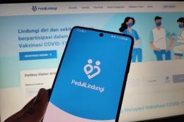 Aplikasi PeduliLindungi| Sumber: Kompas.com/Galuh Putri Riyanto