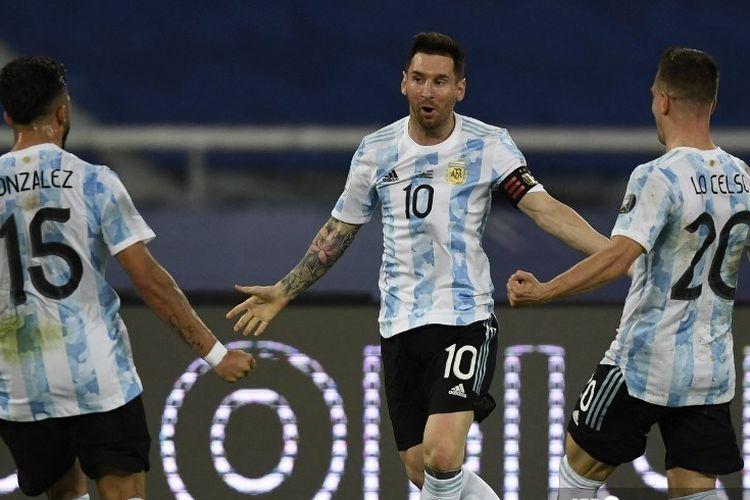 Lionel Messi bersama timnas Argentina.| Foto: AFP/Mauro Pimentel via Kompas.com
