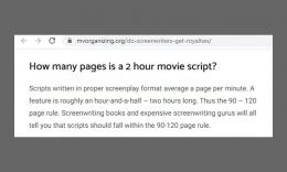 Tentang jumlah halaman dalam naskah dengan durasi film. Sumber: via Mvorganizing.org