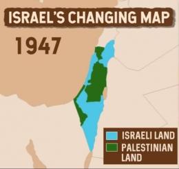 Peta wilayah Israel dan Palestina tahun 1947. (BBC)