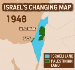 Peta wilayah Israel dan Palestina tahun 1948. (BBC)