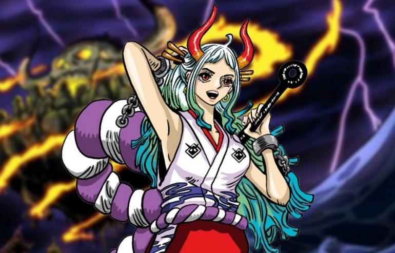 Ilustrasi One Piece, munculnya Yamato didalam perang Onigashima. (Sumber: DevianArt, edit by Ilham Maulana)