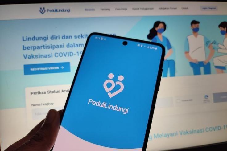 Aplikasi PeduliLindungi, platform kesehatan yang dibuat Kemenkes untuk mendata kasus penyebaran Covid-19 (sumber: www.kompas.com)