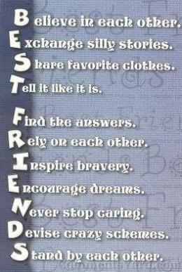 Akrostik tentang arti seorang sahabat dan/atau persahabatan.Sumber: bestfriendquotesforever.blogspot.com