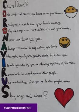 Puisi akrostik yang ditulis anak 9 tahun sebagai pengingat akan situasi pandemic Covid-19 (Sumber: Twitter @HomeStartHerts)