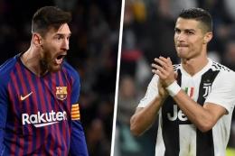 Messi saat di Barcelona dan Ronaldo di Juventus. (Getty/Goal via kompas.com)