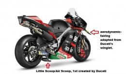Apa yang ada di motor MotoGP sekarang, berawal dari kreasi dan inovasi Ducati. Sumber: Diolah penulis dari Dokumentasi Aprilia/via Kompas.com