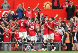 Manchester United merayakan gol Ronaldo, Sabtu (11/9/2021) malam WIB (Photo by Clive Brunskill/Getty Images)