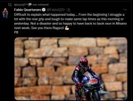 Pernyataan Quartararo tentang balapan buruknya sebagai pemuncak klasemen sementara MotoGP 2021. Sumber: Twitter.com/FabioQ20