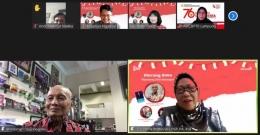 Prof. Dr. Ing. Wardiman Djojonegoro bersama Dr. Titi Priyatiningsih M.Pd dalam Bincang Buku Sepanjang Jalan Kenangan, 17 Agustus 2021 (capture zoom)
