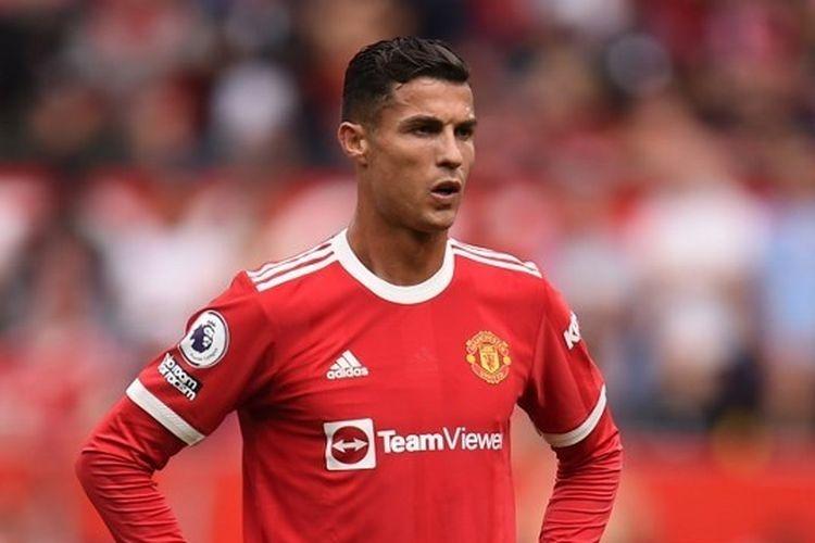 Penyerang Man United, Cristiano Ronaldo, saat berlaga melawan Newcastle dalam laga Liga Inggris 2021-2022 di Stadion Old Trafford, Sabtu 11 September 2021.| Sumber: OLI SCARFF/AFP via Kompas.com