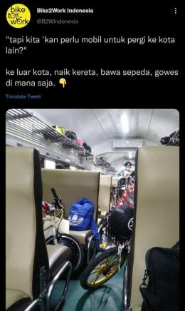 Cuitan Bike2Work Indonesia yang ramai Senin sore. (Sumber: Tangkapan layar pribadi)