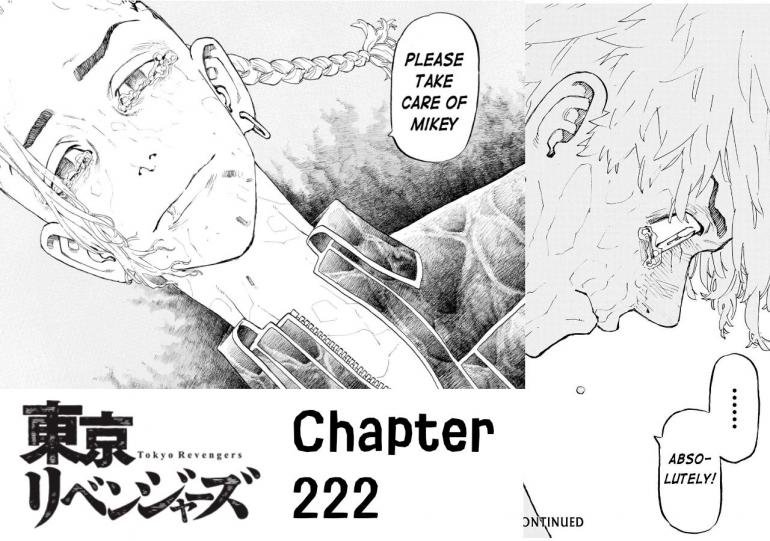 Draken meminta Takemichi untuk Menjaga Mikey. (Sumber: Dok. Kodansha US, Tokyo Revengers chapter 222, edit by Ilham Maulana)