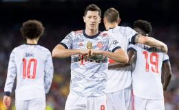 Ekpresi selebrasi gol Robert Lewandowski ke gawang Barcelona: Dailymail.co.uk
