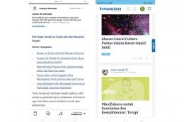 pilihan artikel terkait yang lebih banyak pada Kompas dot com dan ukuran boks tautan Kompasiana yang terlalu lebar. sumber: screenshot