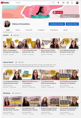 Tampilan channel youtube saya (sumber pribadi)