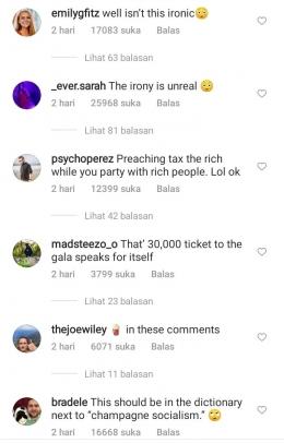 Komentar netizen pada postingan foto AOC di Instagram. (Instagram/@AOC)