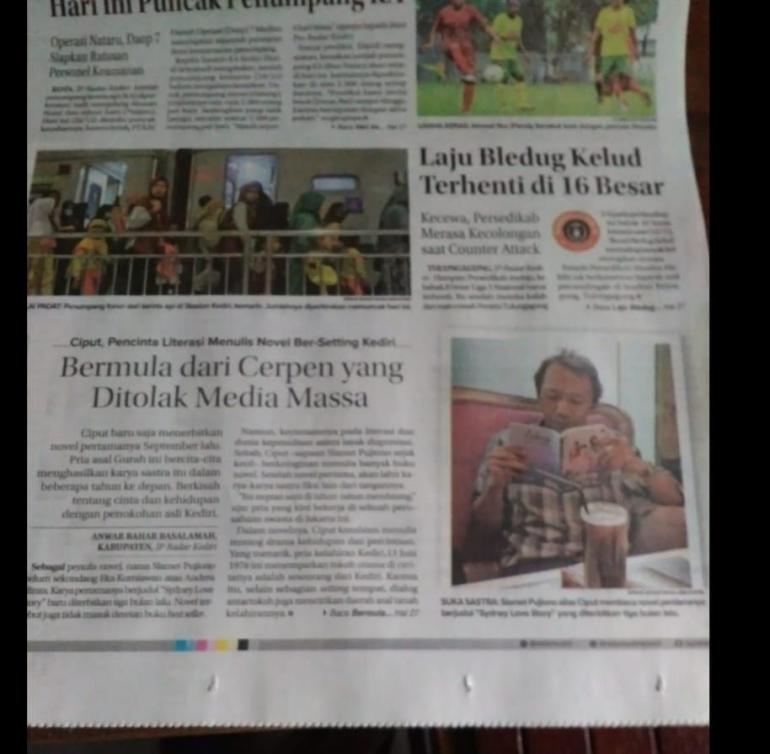 Foto: Halaman Depan Radar Kediri yang memuat profil penulis. Sumber: Dokumen Pribadi.