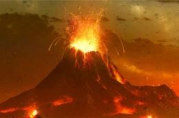 ilustrasi erupsi supervolcano Gunung Api Toba yang mengakibatkan Bumi mengalami musim dingin vulkanik (gambar: National Geographic Indonesia)