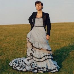 Harry Styles mengenkan gaun dalam sebuah pemotretan sampul majalah Vogue. | Sumber: Vogue.com