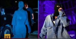Kim Kardashian dan Justin Bieber menggunakan topeng hitam dari Balenciaga di Met Gala 2021. Foto : video Entertainment Tonight