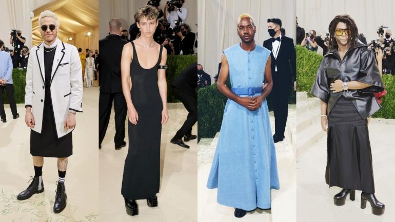Sejumlah selebritas pria yang menerapkan tren genderless fashion di Met Gala 2021. | Sumber: Getty Images via Vogue.com