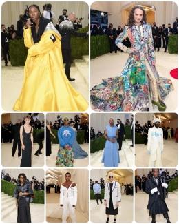Sejumlah selebritas pria yang menerapkan genderless fashion di Met Gala 2021. | Getty Images via Vogue.com