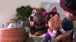 Nona kesal cucunya menganggu keasyikannya menonton acara gulat | sumber gambar: Disney Plus