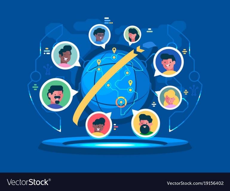 Ilustrasi Komunikasi Global | Source : Vectorstock