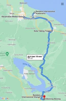 Medan - Kualanamu - Tebing Tinggi - Bandara Silangit Siborongborong (Dok : Google maps)