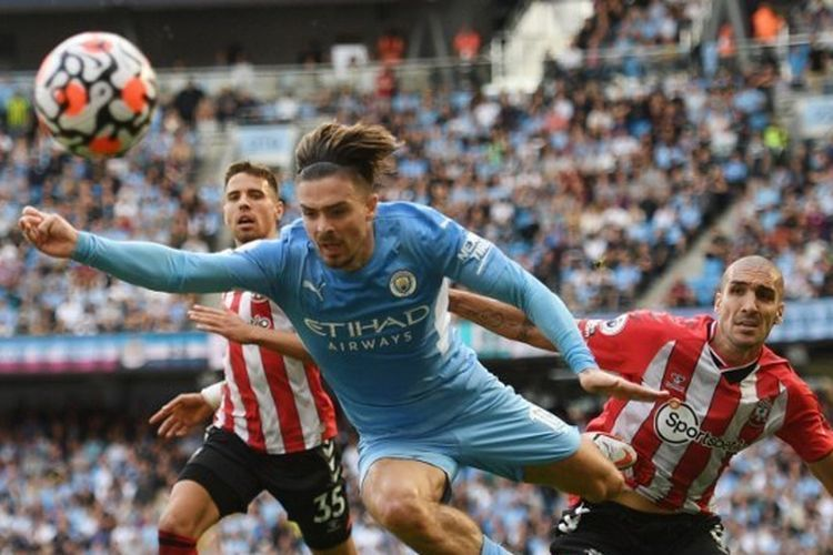 Jack Grealish gagal membawa Man. City kalahkan Southampton. (AFP/OLI SCARFF/via kompas.com)