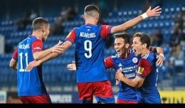Perayaan gol pemain FK Senica saat melawan FK Pohronie. (Sumber: FK Senica/via kompas.tv)