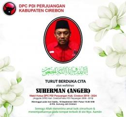 Baner ucapan duka cita PDI Perjuangan Kabupaten Cirebon