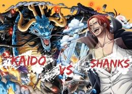 Ilustrasi pertarungan Shanks melawan Kaido. (Aset Gambar: DevianArt, edit by Ilham Maulana)