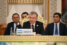 Presiden Uzbekistan Shavkat Mirziyoyev selama Pertemuan SCO (Foto: Layanan Pers Kepresidenan/Gazeta)