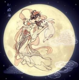 Gambaran Chang E di bulan bersama kelincinya (Foto: FB Kisah Para Dewa)